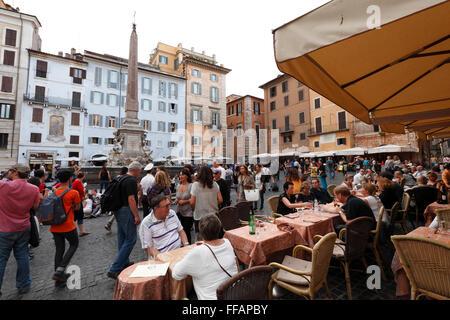 restaurants on Piazza della Rotonda, Rome, Italy - Stock Photo