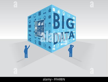 Big data cube vector illustration - Stock Photo