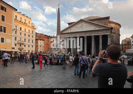 The Pantheon and the Fontana del Pantheon on Piazza della Rotonda, Rome, Italy - Stock Photo