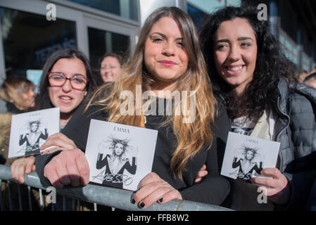 Turin, Italy. 11th February, 2016. Emma Marrone signs autographs during the presentation of 'Adesso' on February - Stock Photo