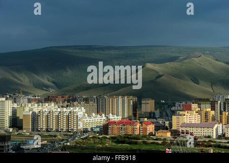 Newly built residential area, Ulan Bator, Mongolia - Stock Photo