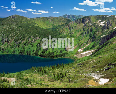 heart and pearl lakes in the bitterroot range below the stateline trail along the montana-idaho border near superior, - Stock Photo
