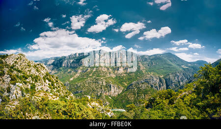 Panorama of beautiful amazing landscape of the Gorges Du Verdon in south-eastern France. Provence-Alpes-Cote d'Azur. - Stock Photo