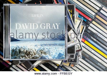David Gray 2005 album Life in Slow Motion, piled music CD cases, Dorset England - Stock Photo