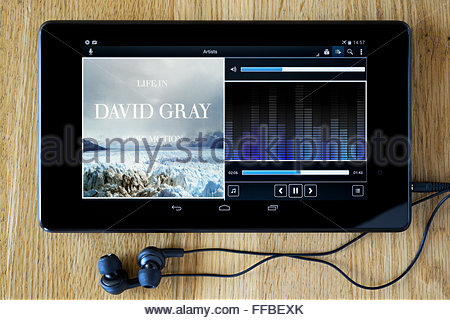 David Gray 2005 album Life in Slow Motion, MP3 album art on PC tablet, England - Stock Photo