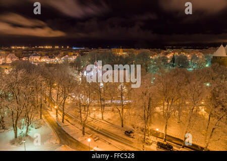 Tallinn city winter view from Patkuli viewing platform - Stock Photo