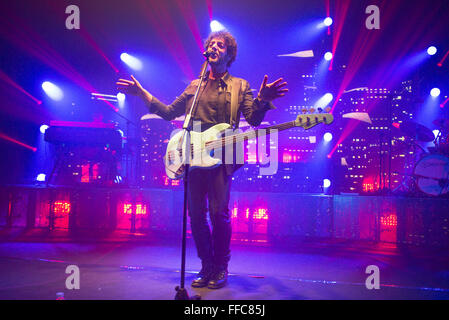 Turin, Italy. 11th February, 2016. Italian singer Max Gazz performs live during a concert at La Concordia on February - Stock Photo