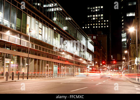 FRANKFURT AM MAIN, GERMANY - JANUARY 16, 2015: A view down the illuminated Neue Mainzer Street from Willy Brand - Stock Photo