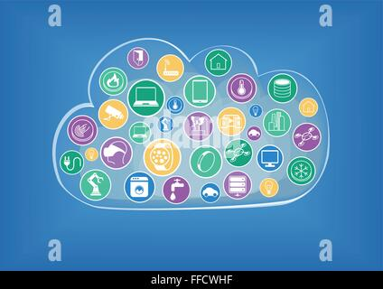 Infographic for cloud computing in the era of internet of things - Stock Photo