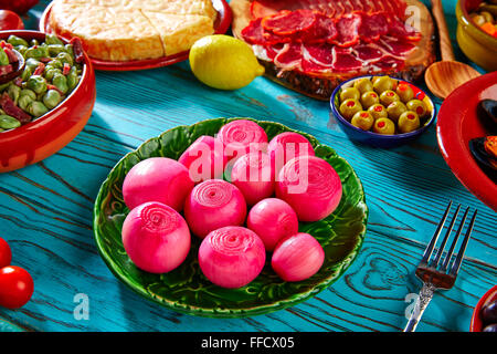 Tapas pickles onion red vinegar from Spain and Mediterranean - Stock Photo
