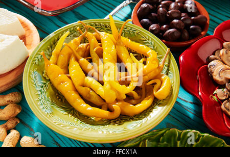 Tapas pickles chili pepper vinegar from Mediterranean Spain - Stock Photo