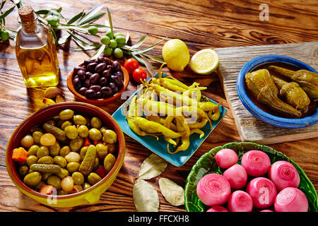 Tapas pickles mix olives chili onion eggplant from Spain - Stock Photo