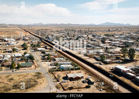 Aerial photograph of the US-Mexico border fence in Arizona. See description for more information. - Stock Photo