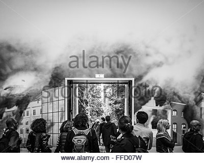 VENICE, ITALY -  31 MAY 2013:  Monochrome image of tourists visiting the British Pavillion at the Venice 55th Biennale - Stock Photo