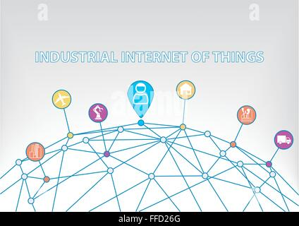Industrial internet of things background with colorful icons - Stock Photo