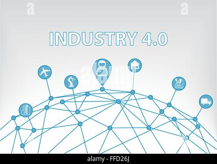 Industry 4.0 vector illustration background with world grid - Stock Photo
