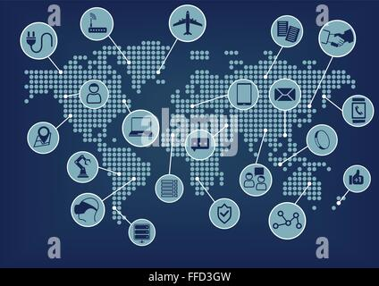 Internet of things (IoT) world map with connected devices - Stock Photo