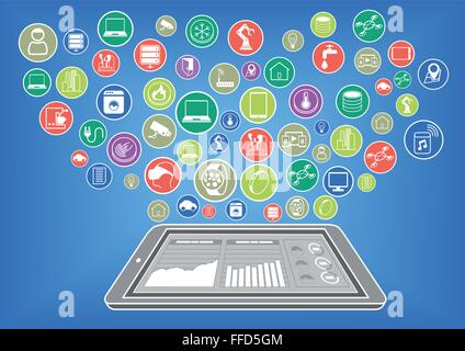Flat design illustration of smart phone with internet of things - Stock Photo