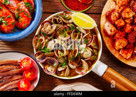 Tapas seafood clams shrimps anchovies shrimps octopus pulpo from Spain - Stock Photo