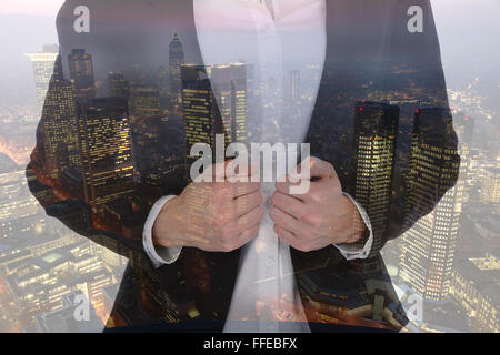 Business man woman businesswoman businessman career success manager city double exposure successful - Stock Photo