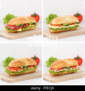 Healthy eating collection of sub deli sandwiches baguettes with salami ham, cheese, salmon fish tomatoes and lettuce - Stock Photo