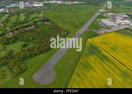 An aerial view of Hucknall Aerodrome near Nottingham - Stock Photo