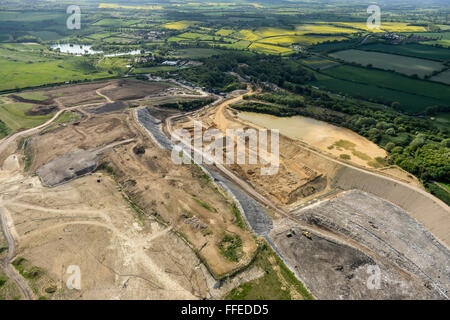 An aerial view of a landfill site in Hertfordshire, UK - Stock Photo