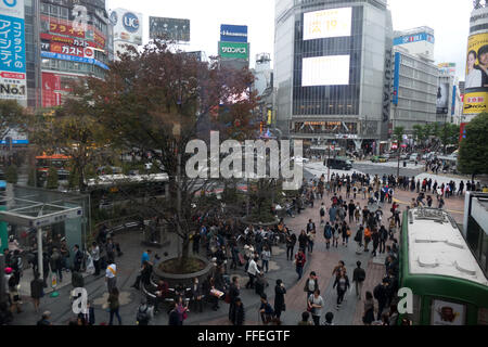 Shibuya crossing, Tokyo, Japan, Asia, one of the busiest in the world. Street, road, pedestrians, people, traffic, - Stock Photo