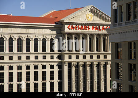 the facade of Caesars Palace Hotel in Las Vegas, Nevada, USA - Stock Photo