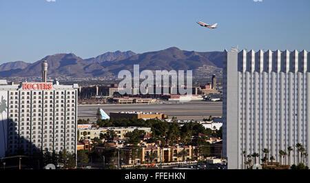 an aircraft taking off at McCarran International Airport, Las Vegas, Nevada, USA - Stock Photo