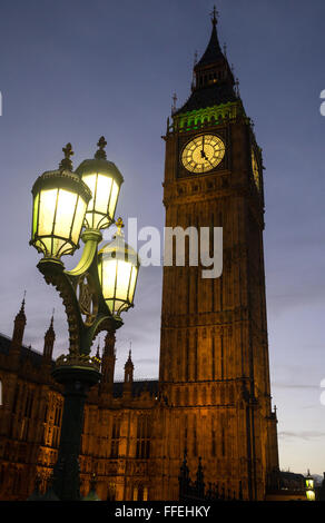 Big Ben at dusk.It is also known as St Stephen's Tower and is part of the Houses of Parliament, London, England - Stock Photo