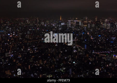 Tokyo, Japan, Asia. Panoramic view of the city at night from Skytree tower. Asian urban landscape, Japanese metropolitan - Stock Photo
