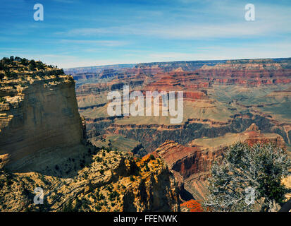 Grand Canyon Arizona,steep-sided canyon carved by Colorado River,Native American Indians settled in canyons caves,Hopi,Yavapai, - Stock Photo