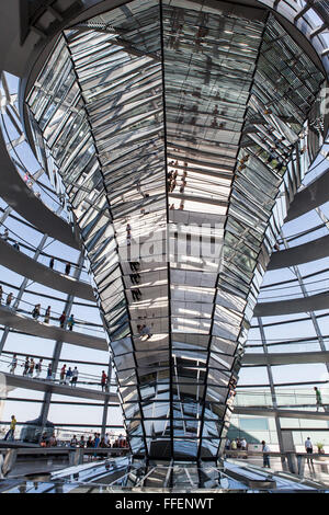 interior view of glas dome designed by Norman Foster with double-helix spiral ramps in Reichstag building, Berlin, - Stock Photo
