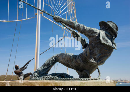 Chatham, Kent, England. Detail of 'The Mariners', a contemporary sculpture by Sam Holland, St Mary's Island. - Stock Photo
