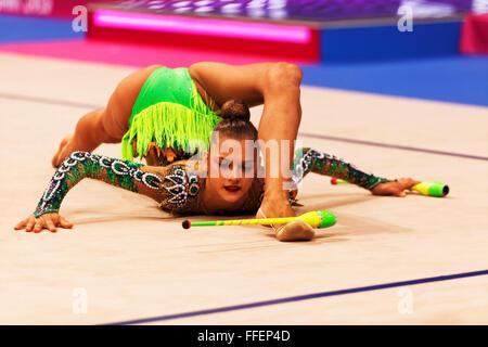 Aleksandra Soldatova, (RUS), 34th Rhythmics World Championships 2015, Stuttgart, Germany - Stock Photo