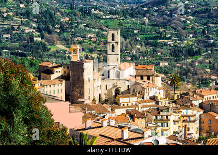 old town of Grasse and Cathedral Notre-Dame du Puy, Grasse, Alpes-Maritimes Department, Cote d'Azur, France - Stock Photo