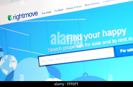 A photograph of the rightmove website. - Stock Photo