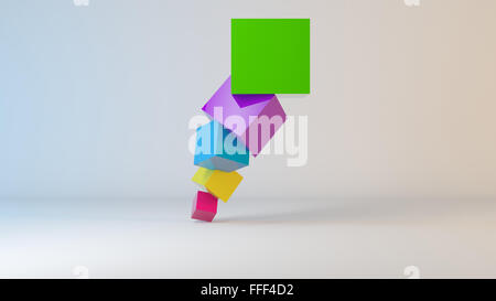 Colorful cubes 3D inside a white stage. - Stock Photo