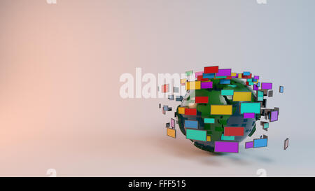 Media technologies concept: screens and TVs in front of earth sphere - Stock Photo