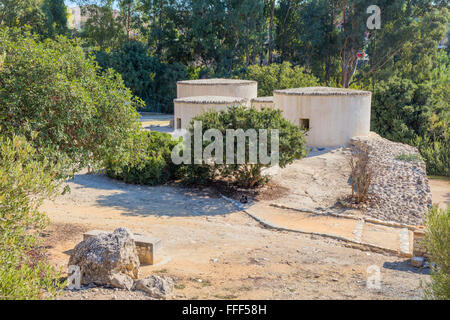 Reconstructed structures, Khirokitia archaeological site, Cyprus - Stock Photo