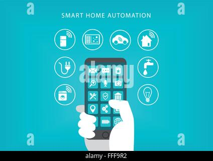 Smart home automation concept. Vector illustration of hand holding smart phone and connecting to home appliances. - Stock Photo