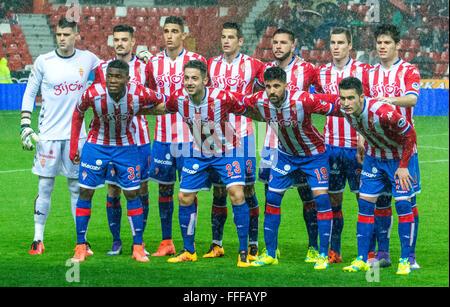 Gijon, Spain. 12th February, 2016. Real Sporting de Gijon's team during football match of Spanish 'La Liga' between - Stock Photo