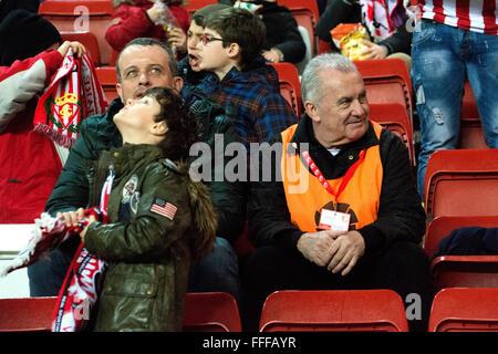 Gijon, Spain. 12th February, 2016. Spanish singer Victor Manuel watchs the football match of Spanish 'La Liga' between - Stock Photo