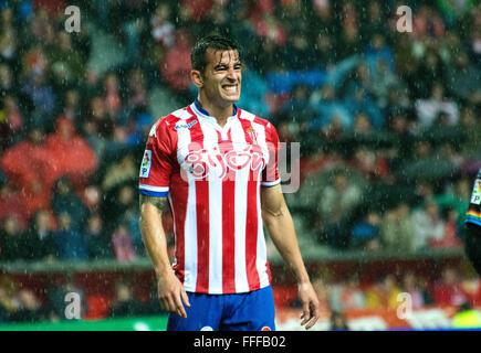 Gijon, Spain. 12th February, 2016. Luis Hernandez (defender, Real Sporting de Gijon) during football match of Spanish - Stock Photo