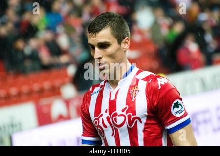 Gijon, Spain. 12th February, 2016. Ognjen Vranjes (defender, Real Sporting de Gijon) during football match of Spanish - Stock Photo