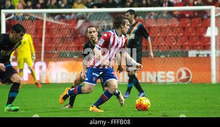 Gijon, Spain. 12th February, 2016. Alen Halilovic (midfielder, Real Sporting de Gijon) in action during football - Stock Photo