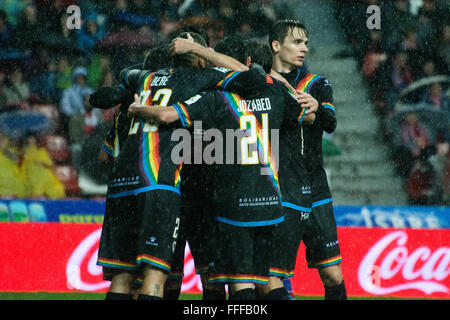 Gijon, Spain. 12th February, 2016. Rayo Vallecano's players celebrate their first goal during football match of - Stock Photo