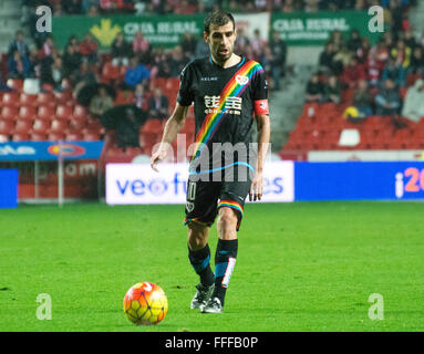 Gijon, Spain. 12th February, 2016. Roberto Trashorras (midfielder, Rayo Vallecano) in action during football match - Stock Photo