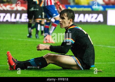 Gijon, Spain. 12th February, 2016. Diego Llorente (defender, Rayo Vallecano) during football match of Spanish 'La - Stock Photo